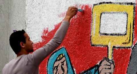 تظاهرة لعشرات الفنانين في غزة عشية الذكرى الـ 63 للنكبة